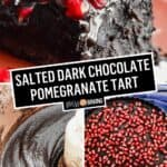 Salted Dark Chocolate Pomegranate Tart | Stress Baking