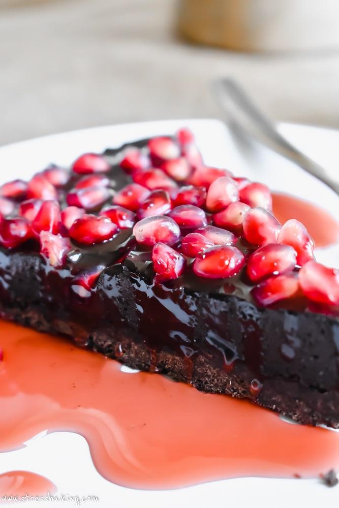 Salted Dark Chocolate Pomegranate Tart