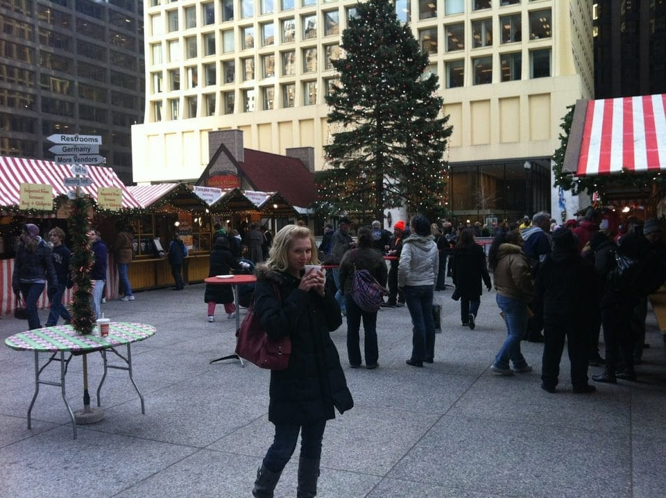 Leslie in a Christmas market in Chicago