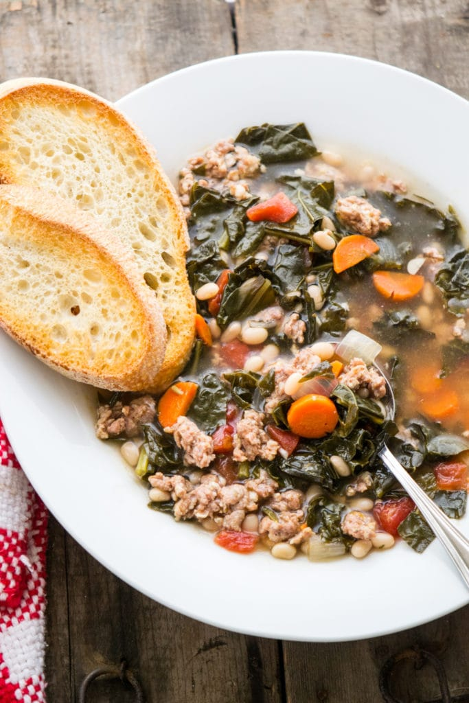 Tuscan Kale, White Bean and Sausage Soup by Hunger Thirst Play