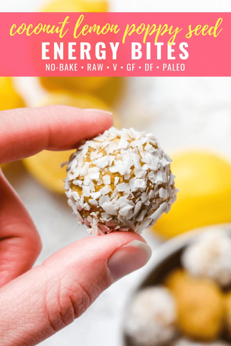 Coconut Lemon Poppy Seed Energy Bites: An easy bite-sized, naturally sweetened snack packed with coconut and lemon flavors and dotted with poppy seeds. No bake, raw, gluten free, dairy free, paleo and vegan!   stressbaking.com @stressbaking #stressbaking #raw #nobake #paleo #glutenfree #dairyfree #vegan #snack #easyrecipe #healthy #noaddedsugar #refinedsugarfree #lemon
