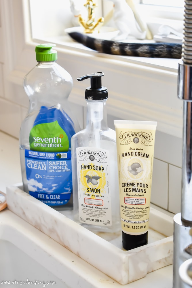 Seventh Generation dish liquid, JR Watkins hand soap and lotion