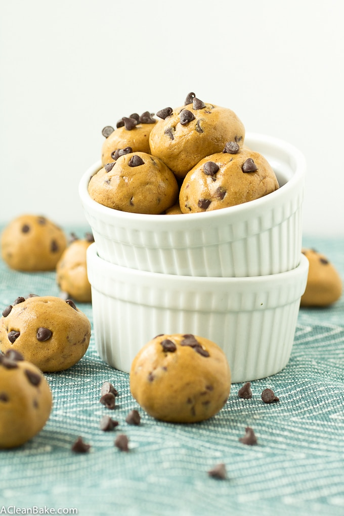 Chocolate Chip Cookie Dough Protein Bites by A Clean Bake