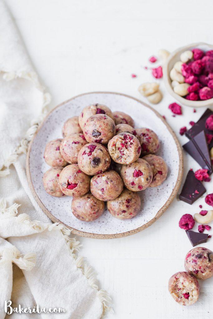 Raspberry Dark Chocolate Energy Bites from Bakerita