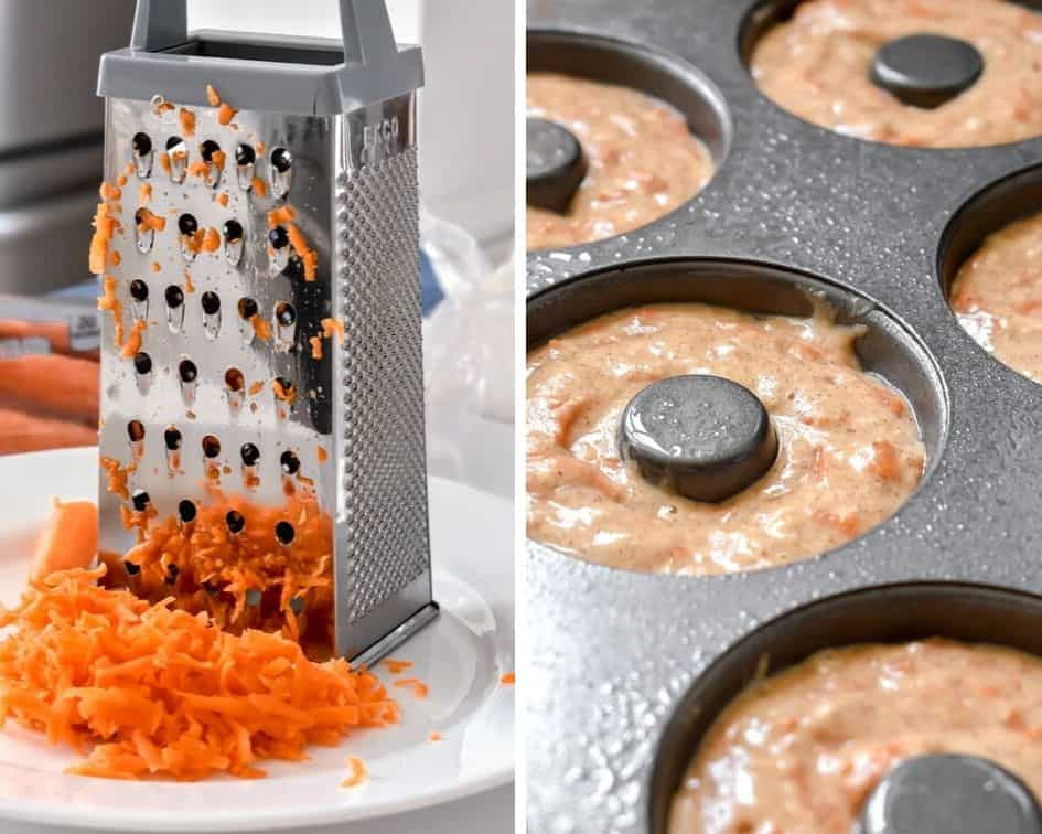 A photo of freshly grated carrots next to carrot cake donut batter in a donut pan