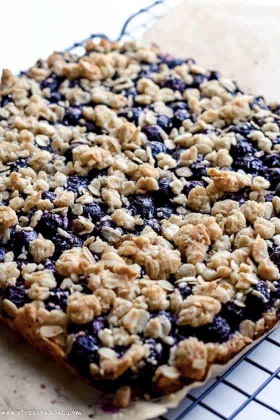 Blueberry Oatmeal Bars on a cooling rack