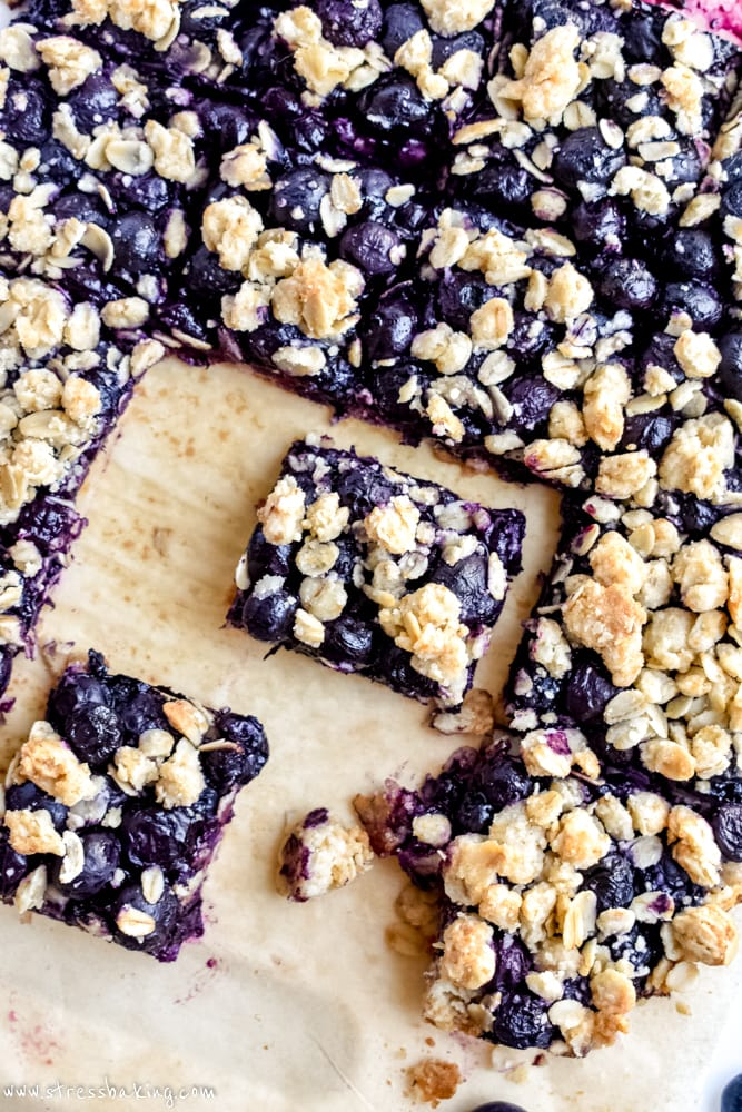 Blueberry Oatmeal Bars on parchment paper