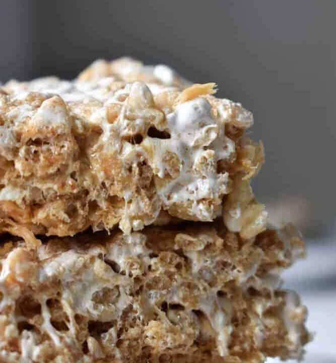 Fluffernutter Rice Krispie Treats stacked