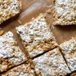 Fluffernutter Rice Krispie Treats on parchment paper