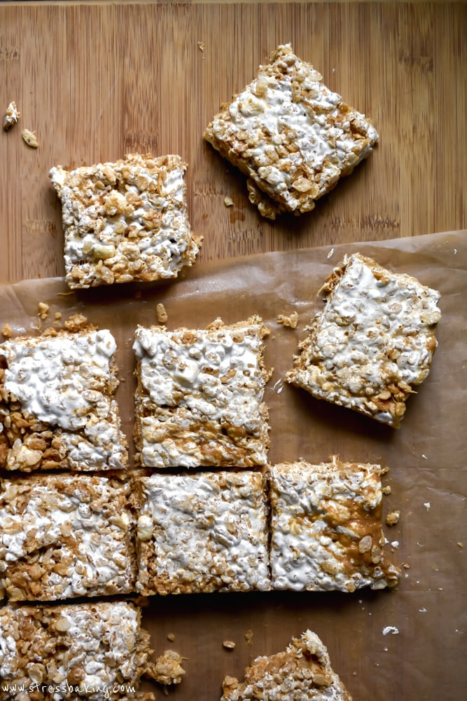 Fluffernutter Rice Krispie Treats on parchment paper