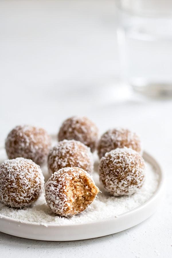 Salted Caramel Coconut Bliss Balls by Choosing Chia