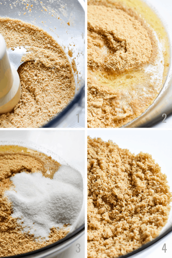 Step by step photos of making a graham cracker crust