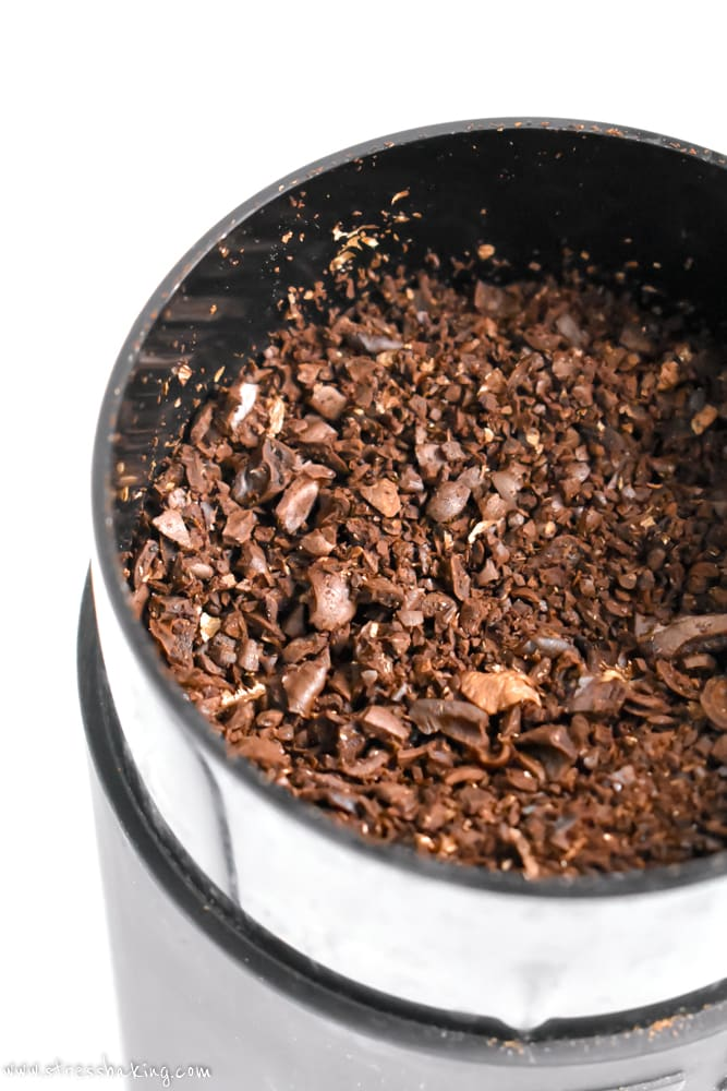 Coffee grounds in a blade grinder