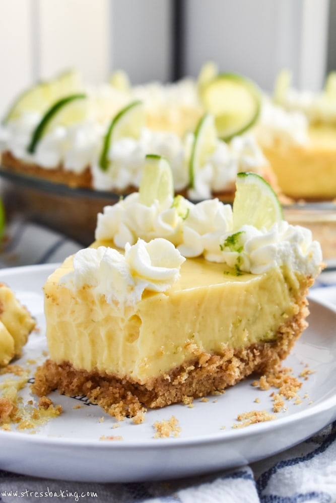 Up close shot of a key lime pie slice