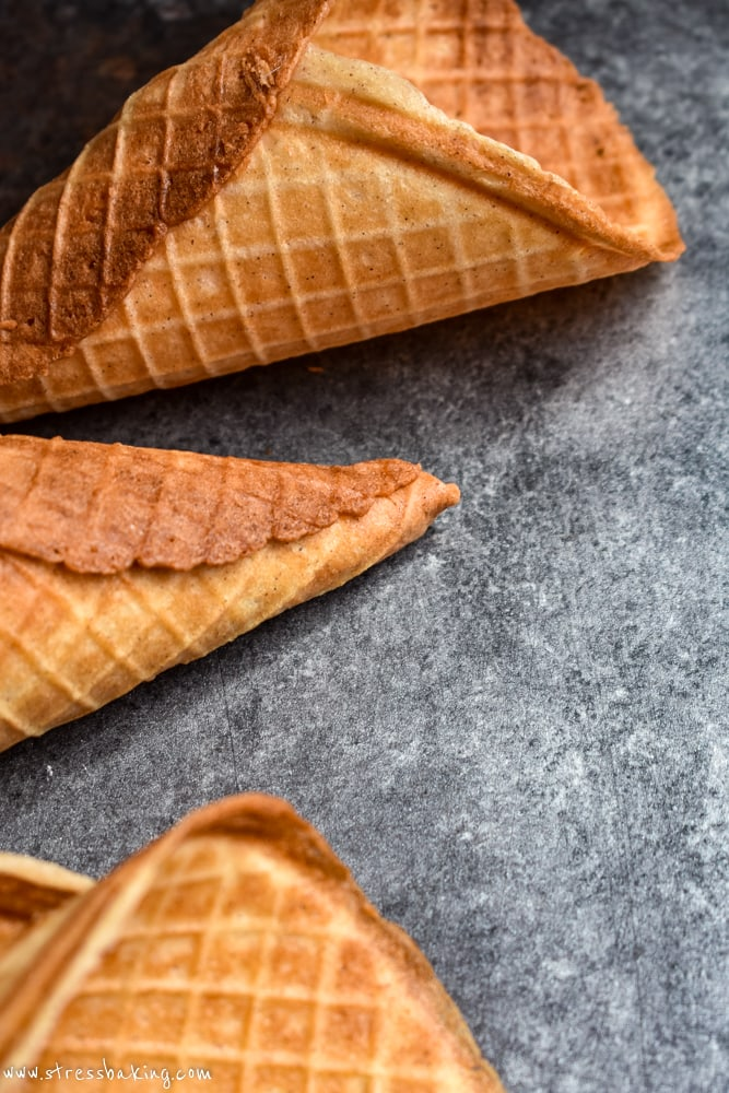 Waffle cone tip on a cookie sheet