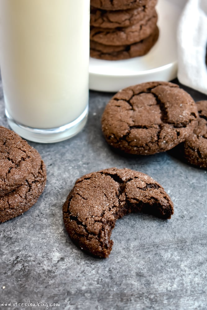 Stack of Chewy Mexican Hot Chocolate Cookies with a glass of milk