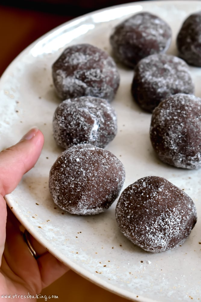 Chewy Mexican Hot Chocolate Cookie dough balls on a plate