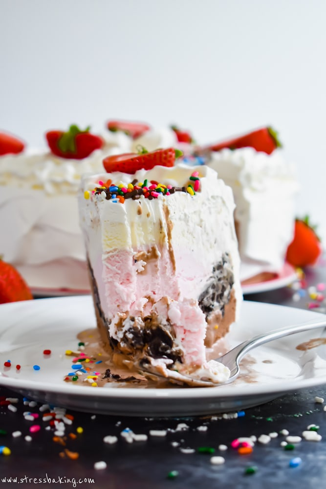 A slice of Neapolitan Crunch Ice Cream Cake showing all the layers
