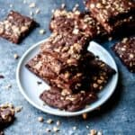 Salted Toffee Crunch Brownie Brittle on a white plate