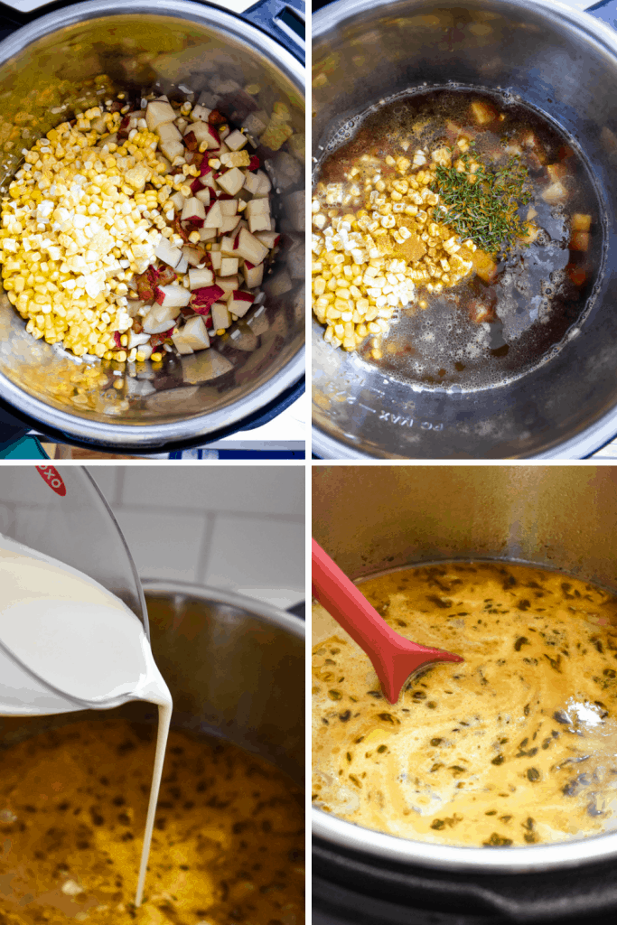 Making corn chowder in an Instant Pot