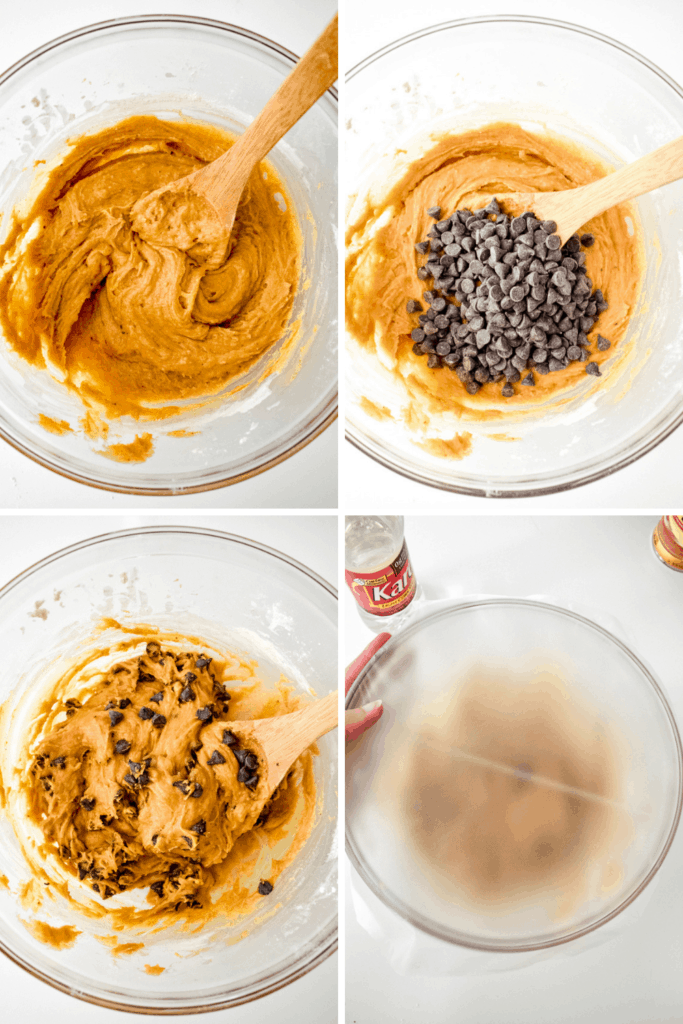 Four photo collage showing the process of making pumpkin chocolate chip cookie dough