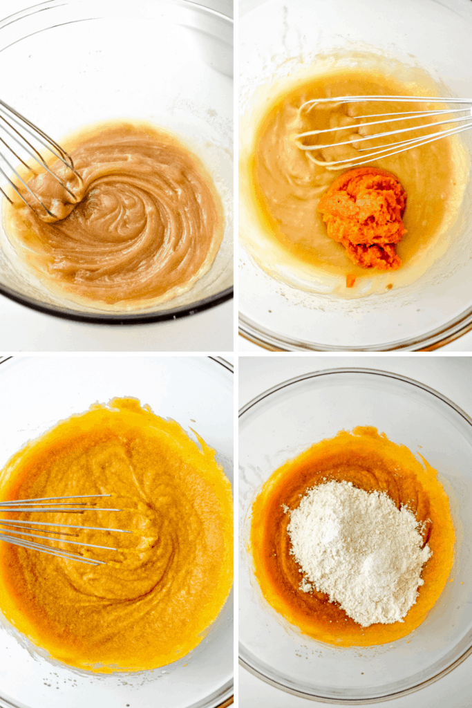 A four photo collage showing the process of making pumpkin chocolate chip cookie batter