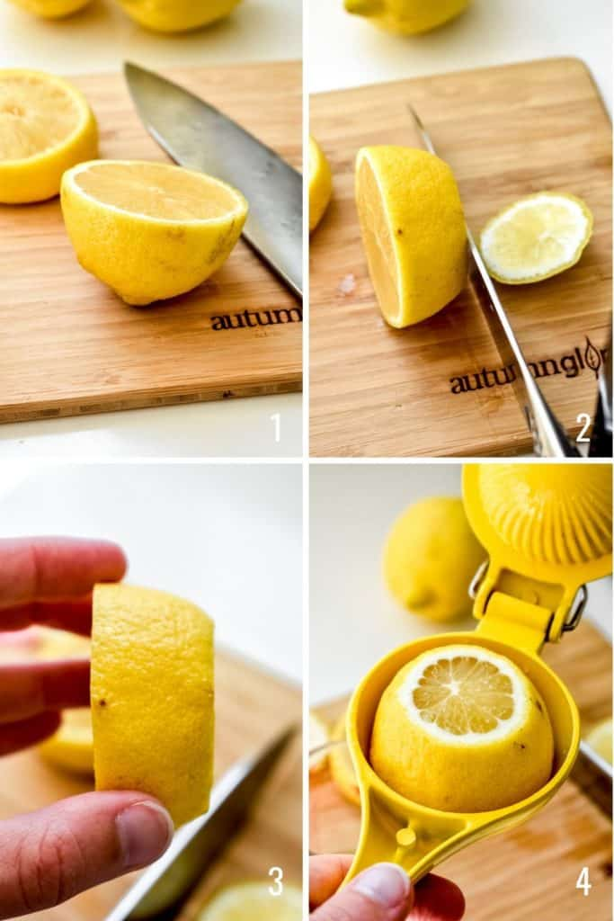 Four photo collage showing the proper way to slice and juice a lemon