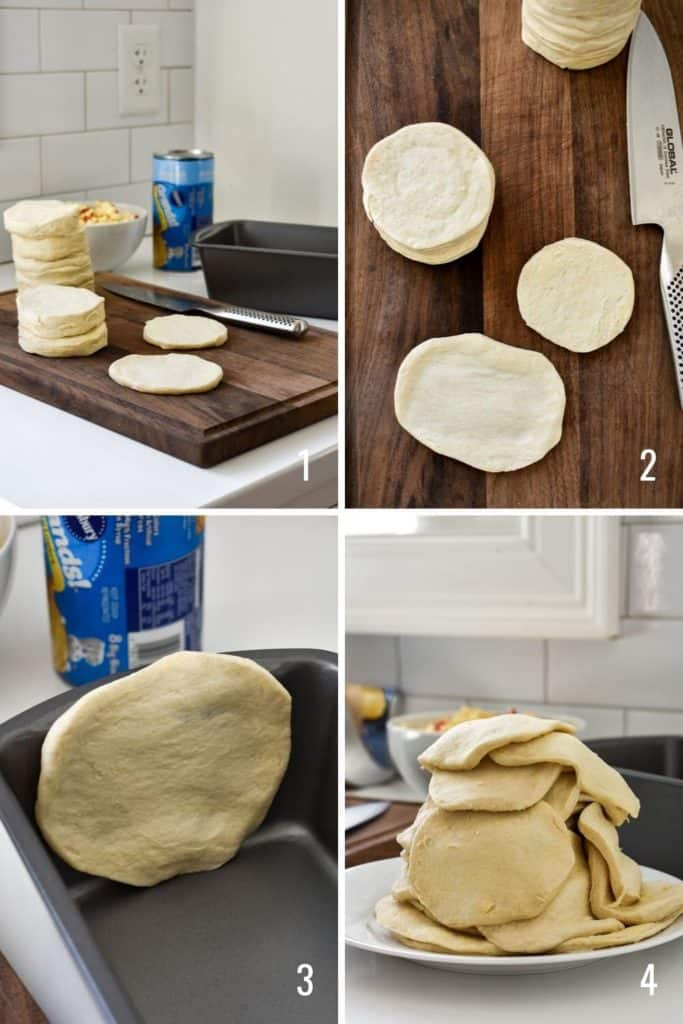 Four photo collage of biscuit dough being prepared for monkey bread