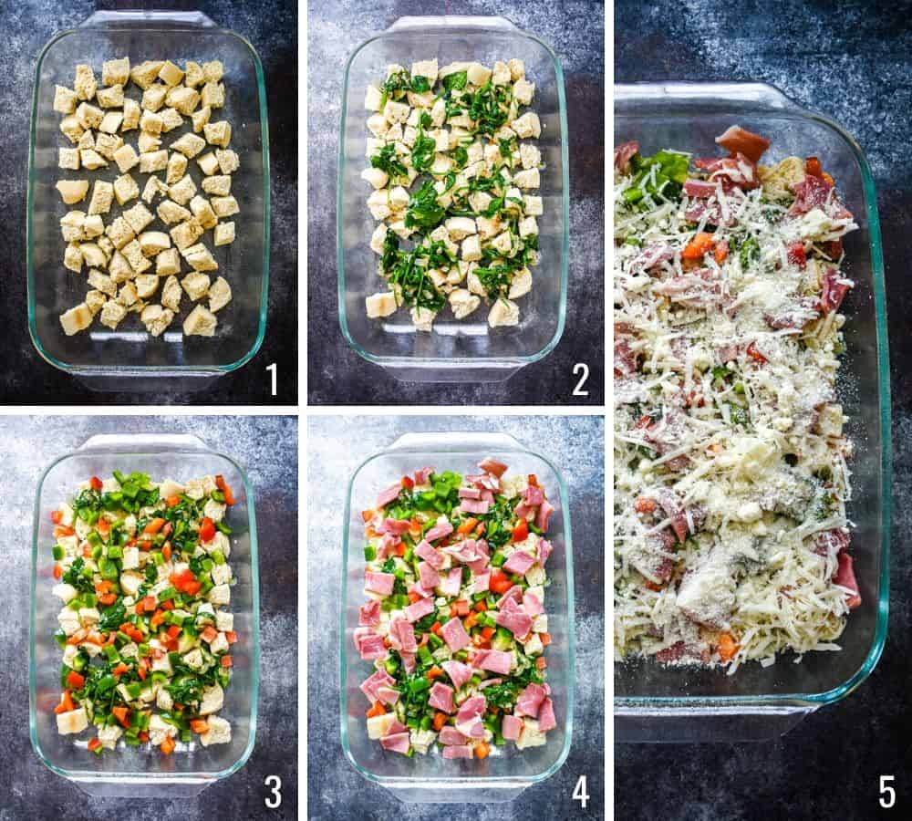 Five photo collage showing the process of layering ham and cheese strata ingredients in a casserole dish