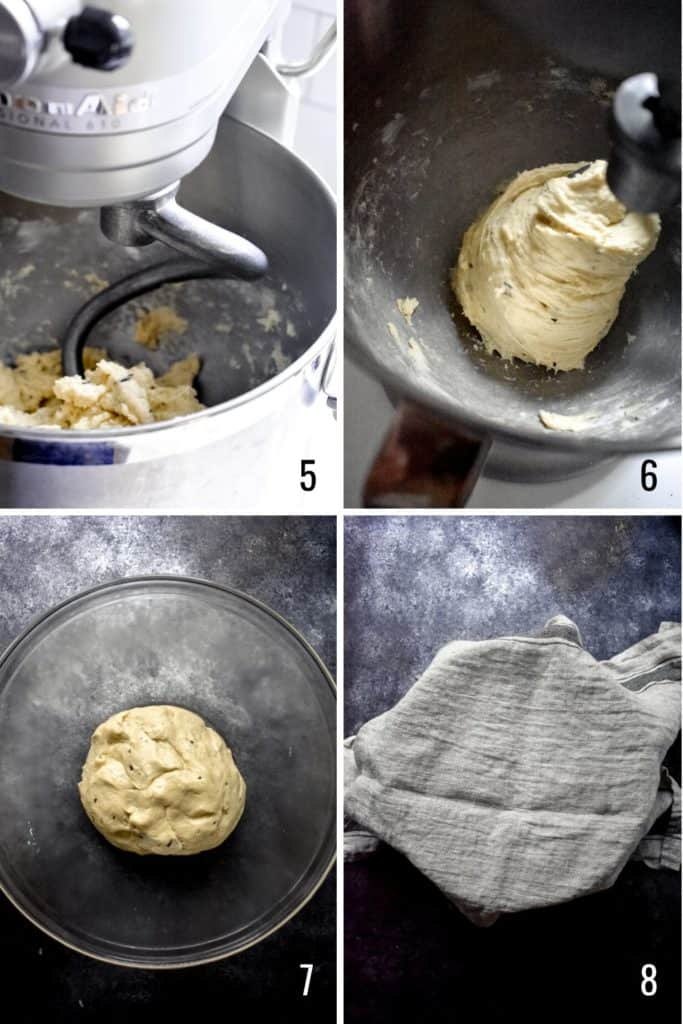 Four photo collage showing steps to make dinner roll dough