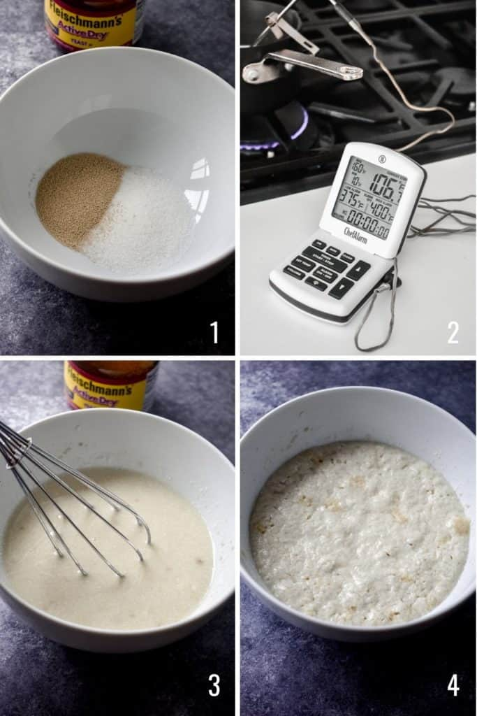 Four photo collage showing the steps to prep yeast