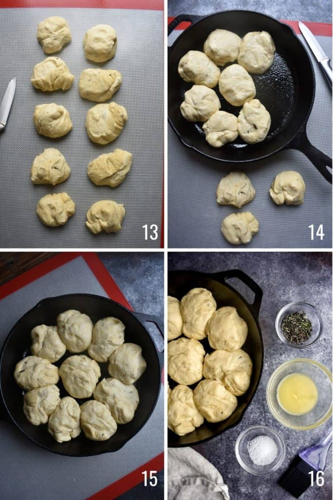 Four photo collage showing steps to portion dinner roll dough and place in skillet