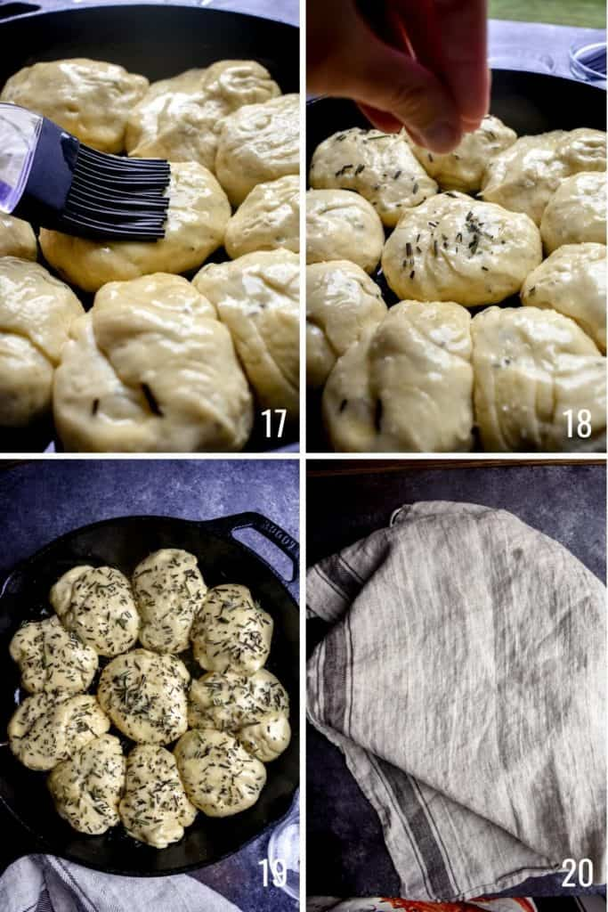 Four photo collage showing steps to prep dinner roll dough with butter and herbs