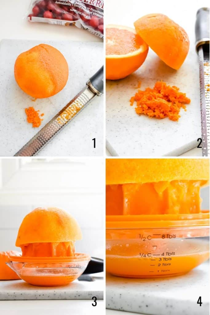 Four photo collage showing how to zest and juice and orange