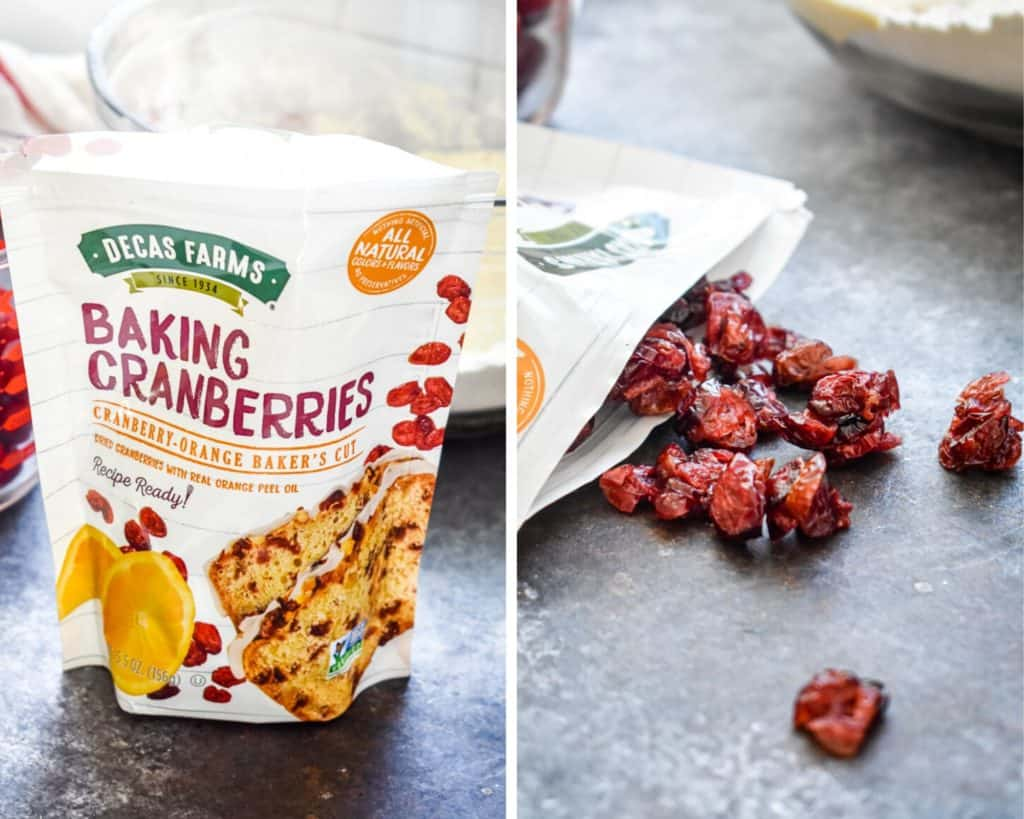 Two photos side by side of Decas Farms cranberry products
