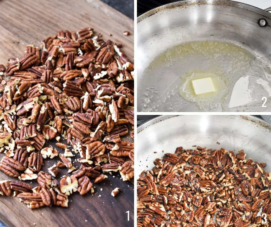 Three photo collage showing chopped pecans being cooked with melted butter