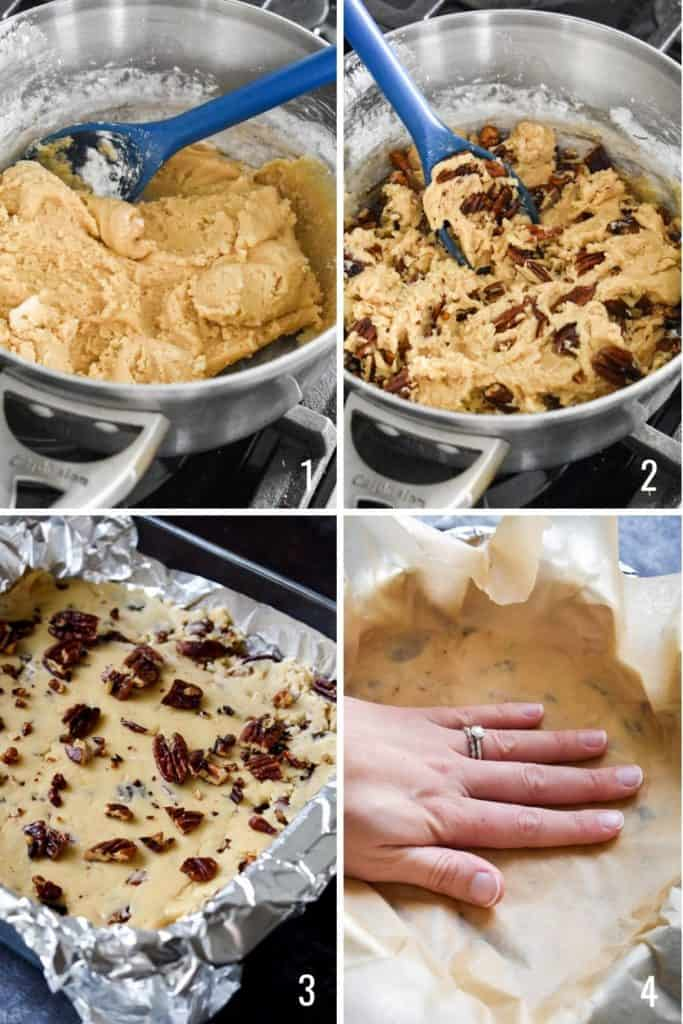 Four photo collage showing butter pecan fudge dough being pressed into a pan