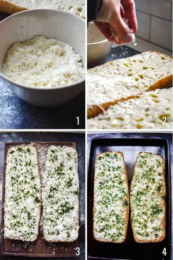 Four photo collage showing the process of assembling cheesy garlic bread