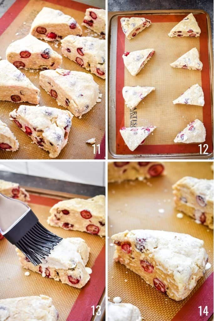 Four photo collage showing the process of preparing cranberry scone dough