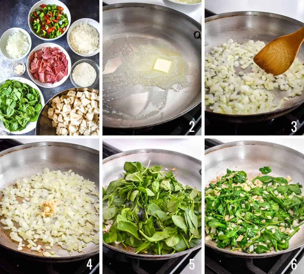 Six photo collage showing the process of preparing onions, garlic and spinach in a pan