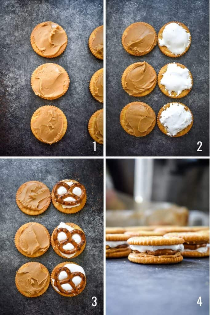 Four photo collage of assembling PMS cookies