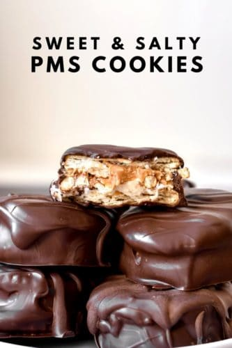 Close up of a PMS cookie with a bite taken out showing the crunchy inside