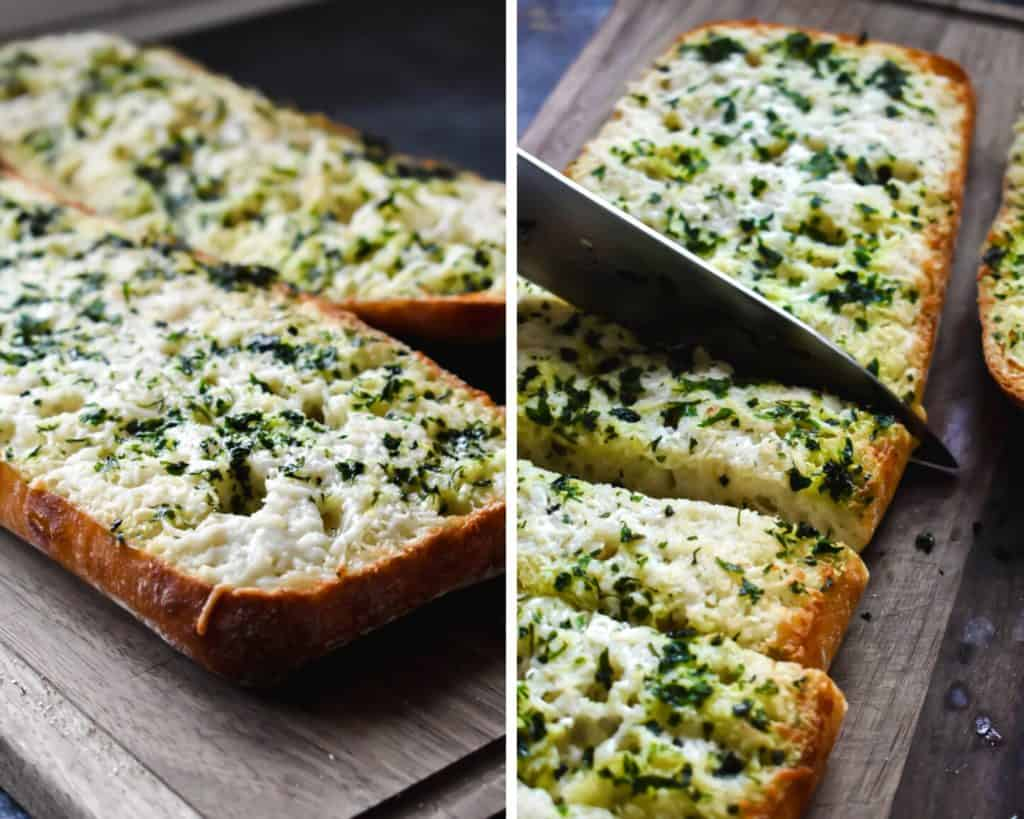 Side by side photos showing the process of slicing garlic bread