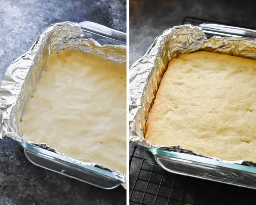 Side by side photos of sugar cookie bar dough before and after being baked