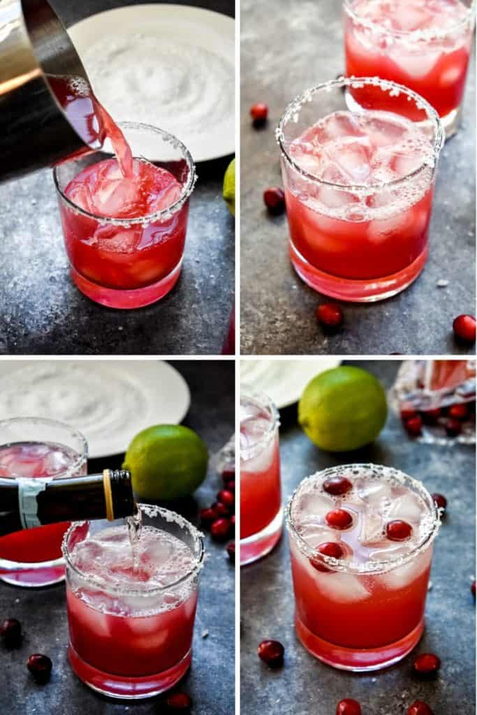 Four photo collage showing the process of pouring and preparing a cranberry champagne margarita in a clear glass
