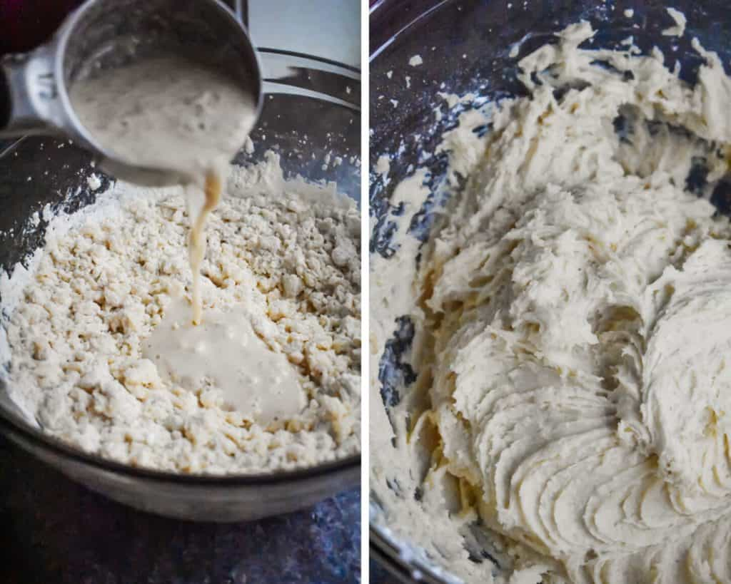 Side by side photos showing the final steps of making eggnog donut batter