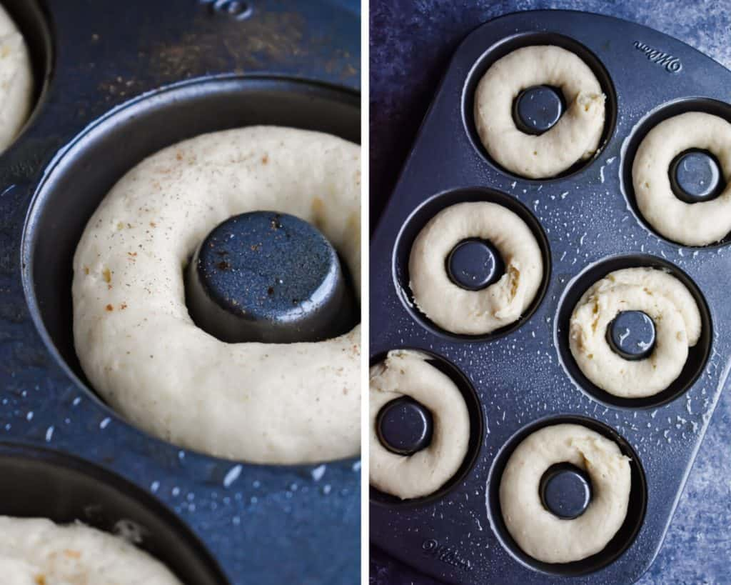 Side by side photos showing donut batter piped in pans