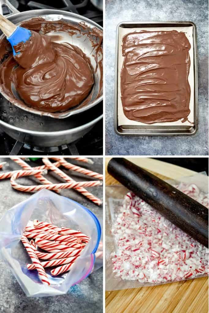 Four photo collage showing the process of melting chocolate and crushing peppermint