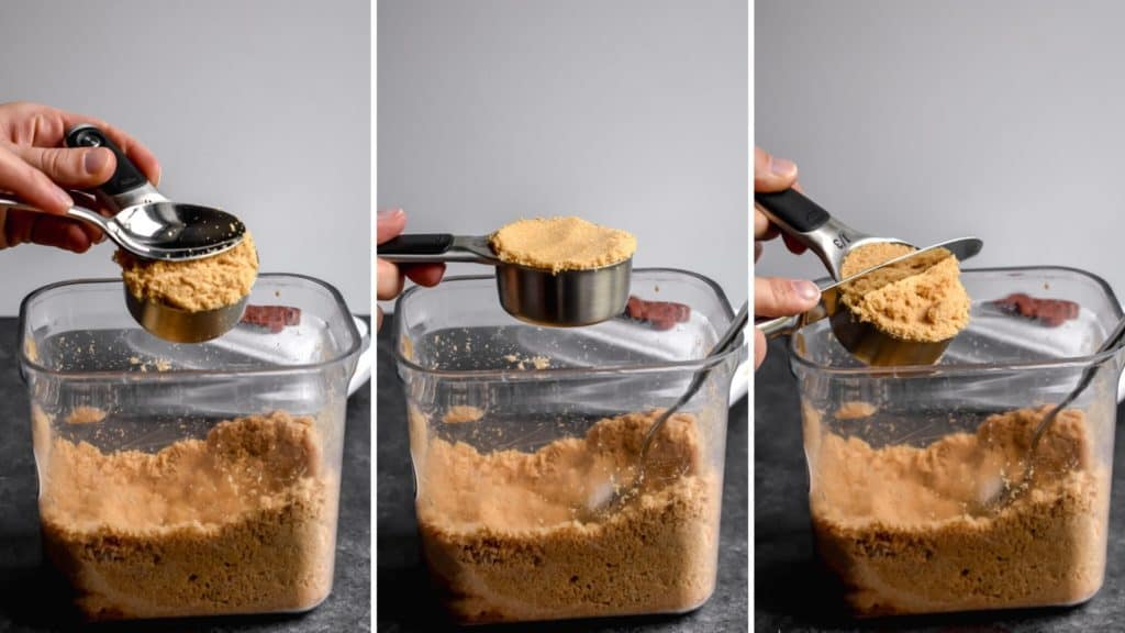 Three photos showing the process of measuring brown sugar
