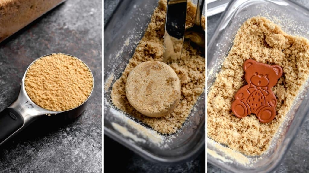 Three photos showing properly measured brown sugar and a canister with a clay sugar bear